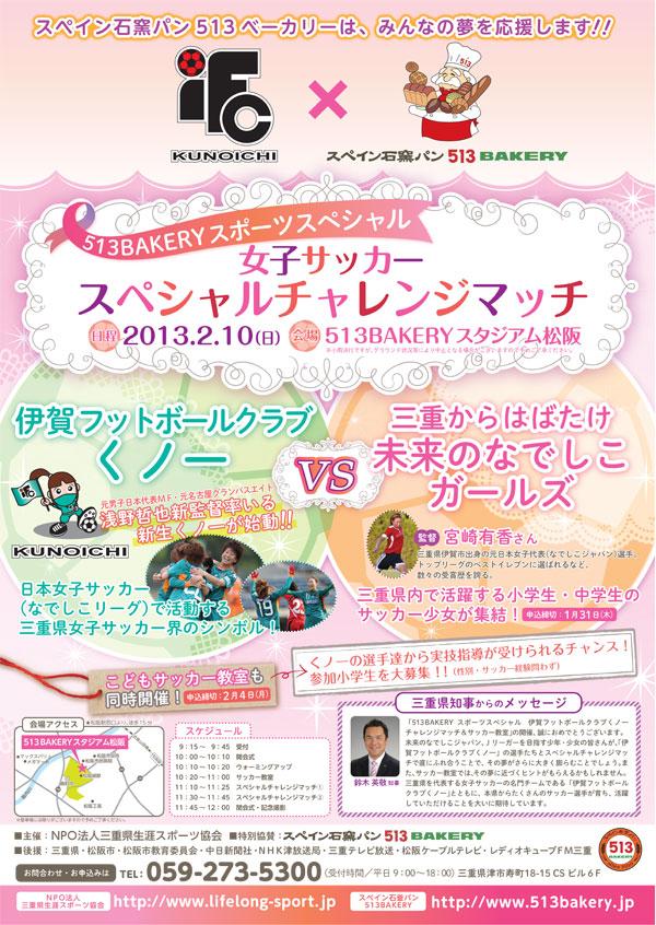 2月10日(日)に513BAKERYスタジアム松阪で『女子サッカースペシャルチャレンジマッチ』開催!